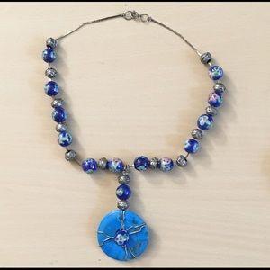 Vintage cloisonné/turquoise necklace